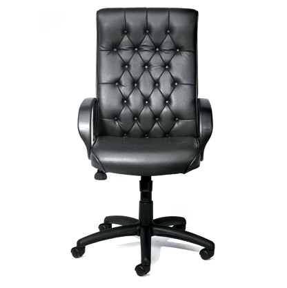 Boss High Back Button Tufted Executive Chair- Black Leather - B8501