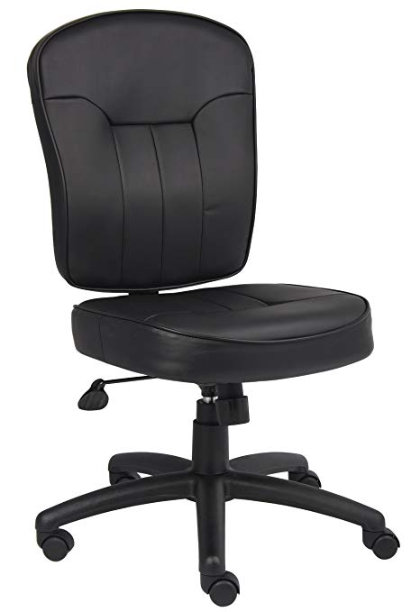 Amazon.com: Boss Leather Adjustable Task Chair Without Arms, Black