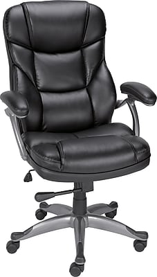 Staples Osgood Bonded Leather High-Back Manager's Chair, Black | Staples