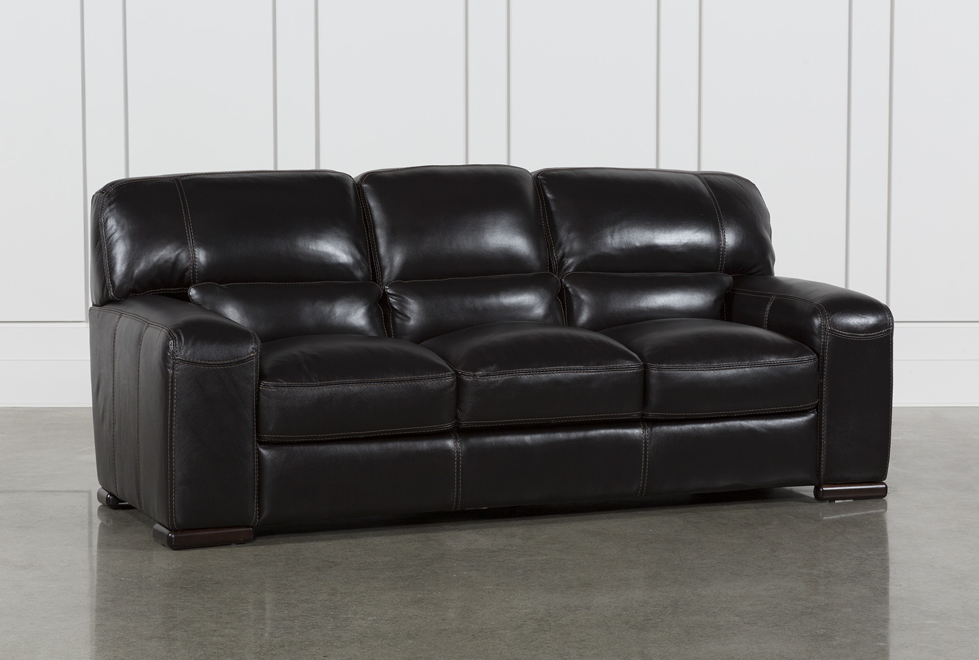 Grandin Blackberry Leather Sofa | Living Spaces