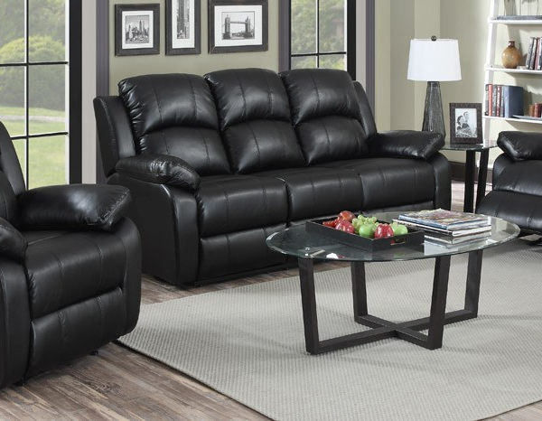 Awesome Black Leather Sofa Set Intended For HouseSimply