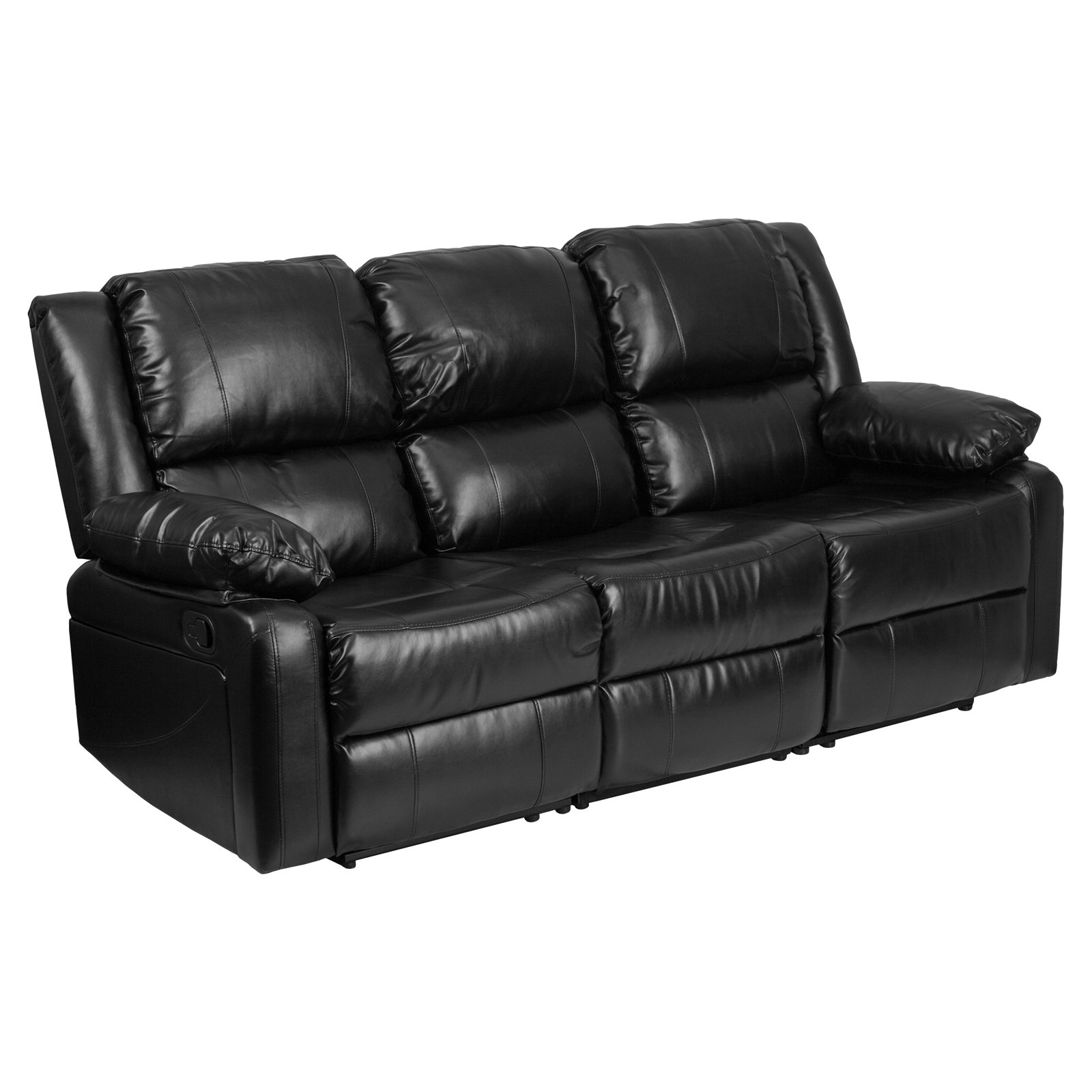 Flash Furniture Harmony Series Black Leather Sofa with Two Built-In