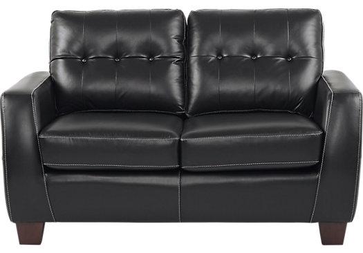 $779.99 - Santoro Black Leather Loveseat - Classic - Contemporary,