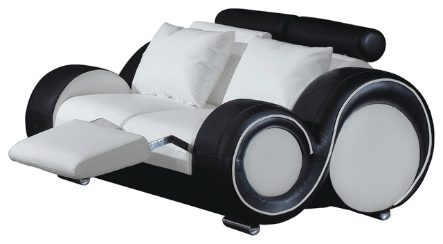 Contemporary Loveseat, White and Black - Contemporary - Loveseats