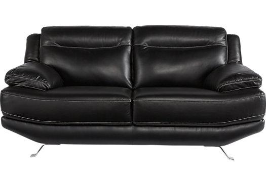 $878.00 - Castilla Black Leather Loveseat - Contemporary,