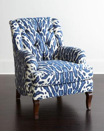 Blue and White Desi Tufted Back Chair