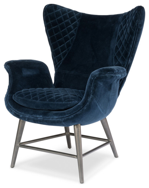 Roul Chair, Blue Velvet - Farmhouse - Armchairs And Accent Chairs