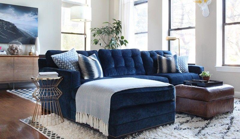 Navy Blue Sectional Sofa - Foter | living room | Pinterest | Blue
