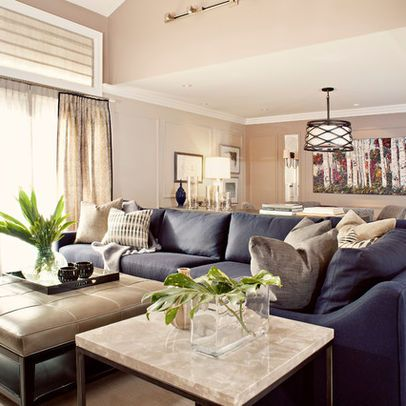 Modern Navy Blue Sectional Sofa Design Ideas, Pictures, Remodel, and