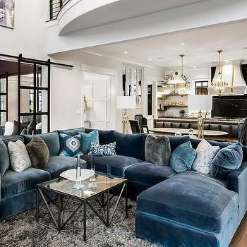 Blue Velvet Sectional with Blue Chaise Lounge | Living Room