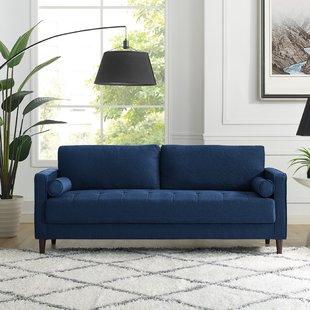 Navy Blue Nailhead Sofa   Wayfair