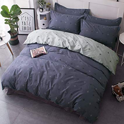 Amazon.com: CLOTHKNOW Boys Bedding Sets Full, Dusty Blue Duvet Cover