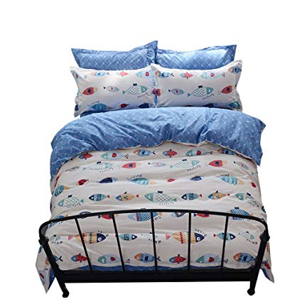 Amazon.com: OTOB Fish Print Duvet Cover Sets Girls, Reversible 100