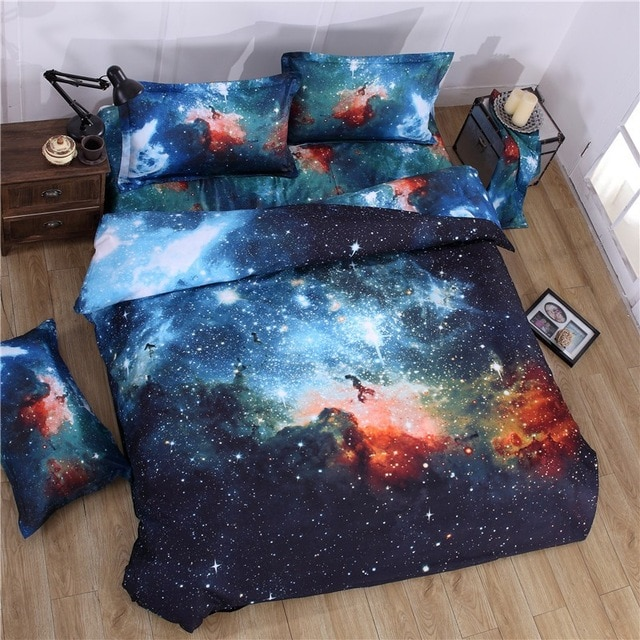 Universe Outer Space 3D Galaxy Bedding set Kids Boys Duvet Cover Set