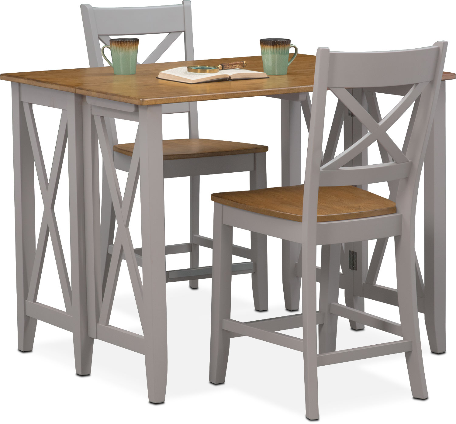 Nantucket Breakfast Bar and 2 Counter-Height Side Chairs - Oak and