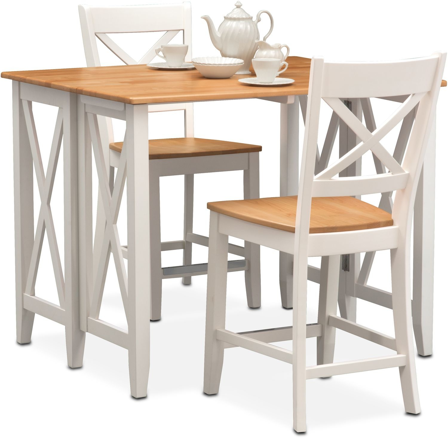Nantucket Breakfast Bar and 2 Counter-Height Side Chairs - Maple and