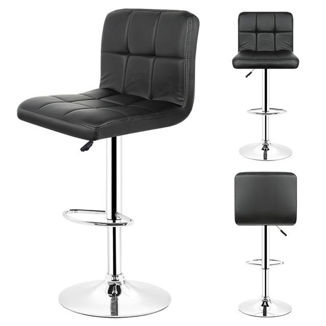 2PCS/set Kitchen Bar Stools Chair Leather Adjustable Swivel Bar