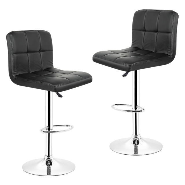 JEOBEST 2PCS/set Kitchen Bar Stools Chair Leather Adjustable Swivel
