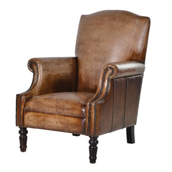 Brown Leather Arm Chair - WilliamRamsEyer.com -