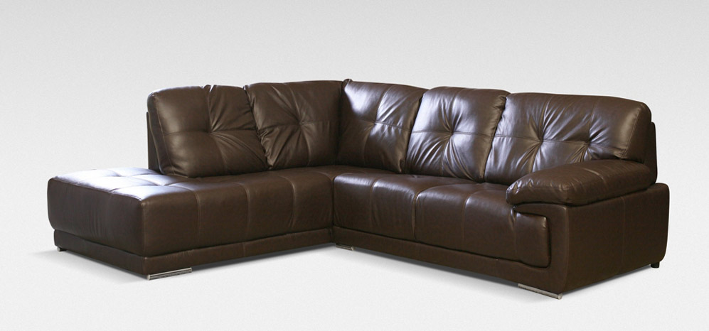 The different options in brown leather   corner sofa