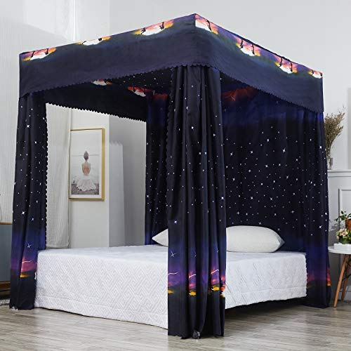 Amazon.com: Mengersi Galaxy Star Four Corner Post Bed Curtain Canopy
