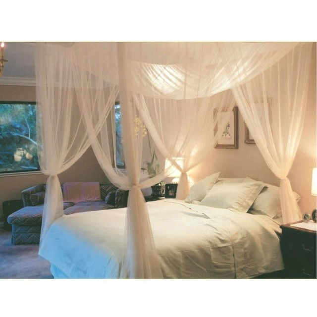 White Three Door Princess Mosquito Net Double Bed Curtains Sleeping