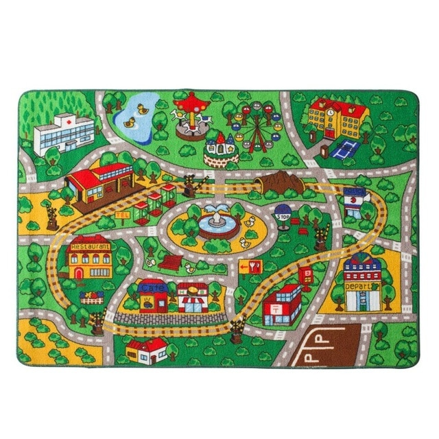 Educational Carpets Kids Room City Center Street Map Carpet for Home
