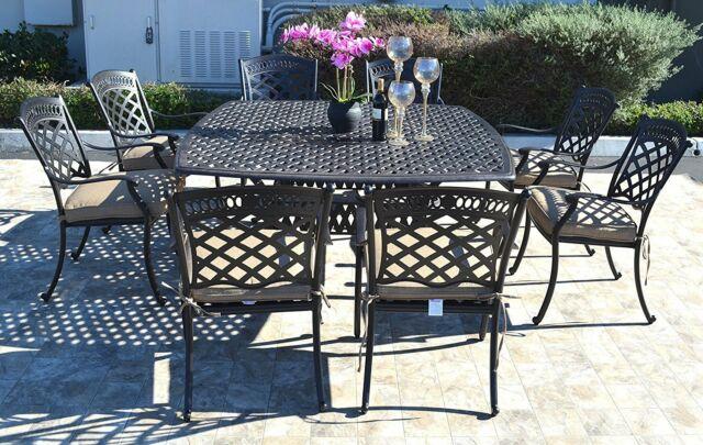 Cast aluminum patio dining set 9pc outdoor furniture square Nassau