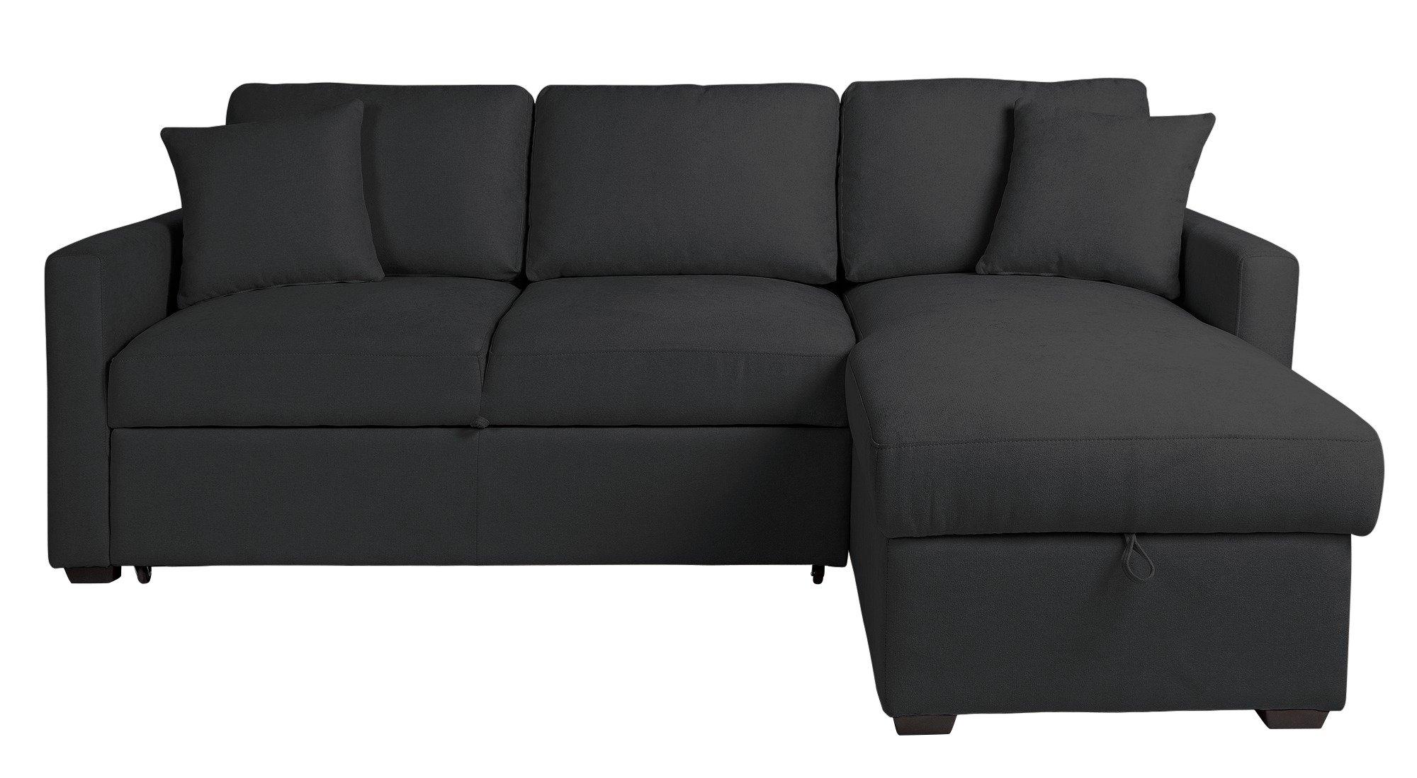 Buy Argos Home Reagan Right Corner Fabric Sofa Bed - Charcoal