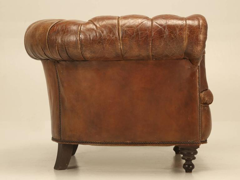 Original Leather Antique Chesterfield Chair | Chairish
