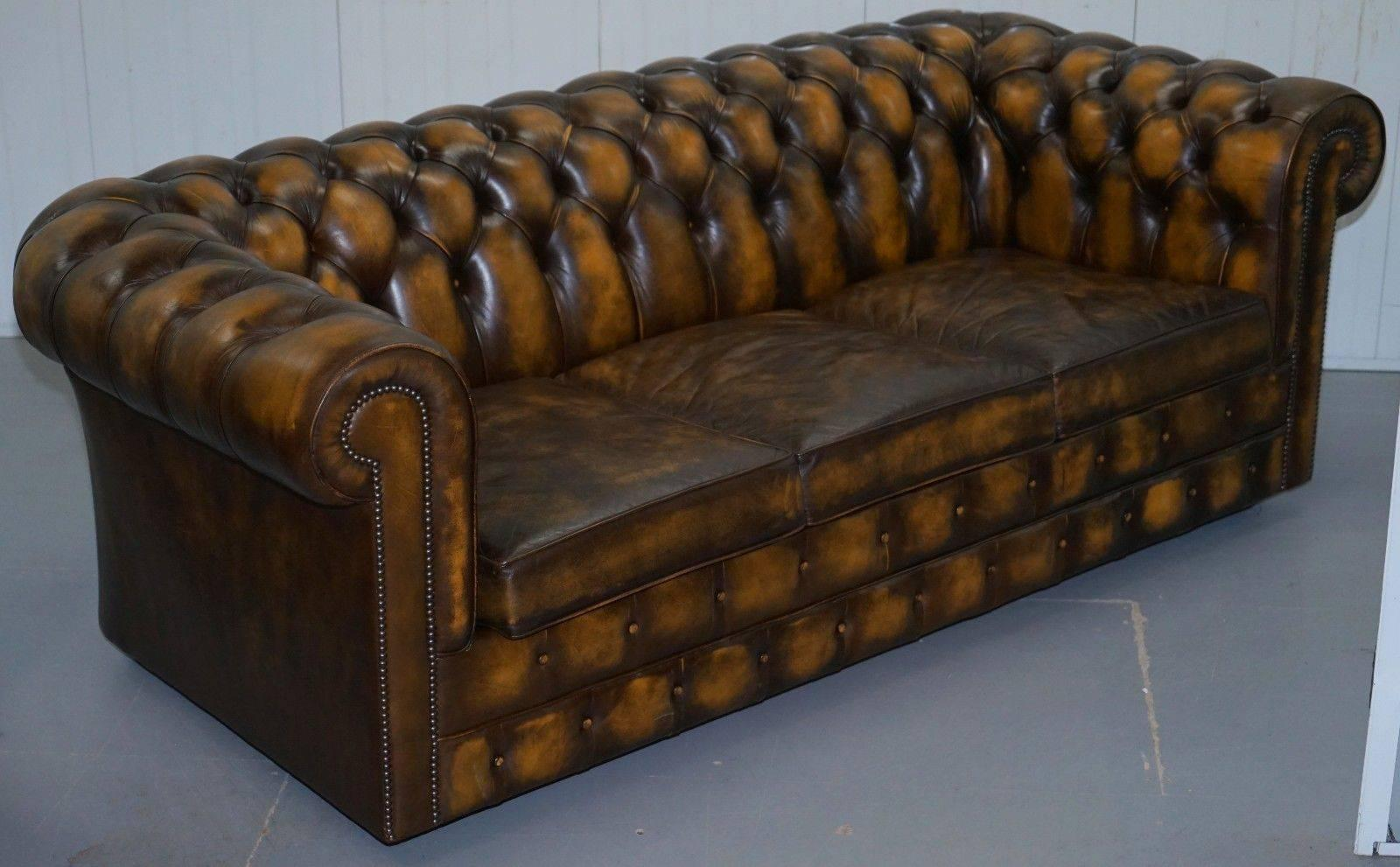 Substantial Hand Dyed Aged Brown Leather Chesterfield Sofa Bed from