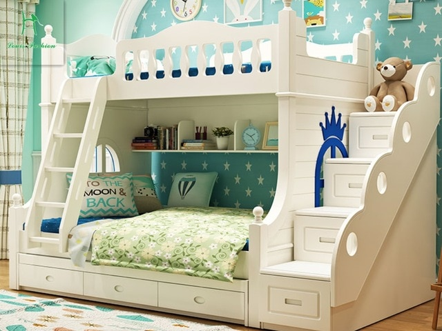 Louis Fashion Double solid wood bunk bed for children-in Children