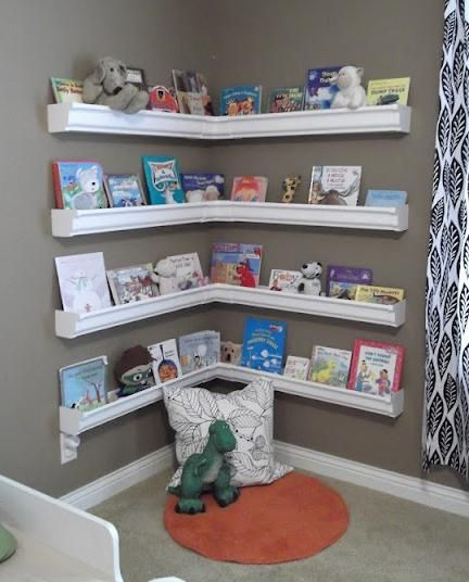 Rain Gutter Bookshelves   Children's Bookshelves   Kids room, Gutter