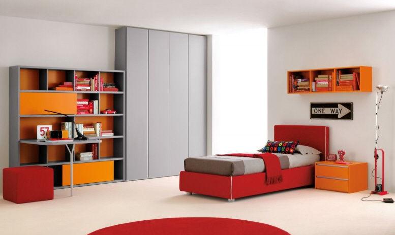 Orange children's bedroom furniture set / unisex - RHYTHM 003 - Clever