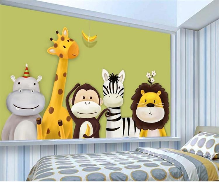 Custom Mural Wallpaper Children'S Room Bedroom Cartoon Theme Animals