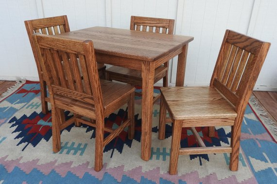 Kids Table Set Children's Table and Chairs Dark Oak   Etsy