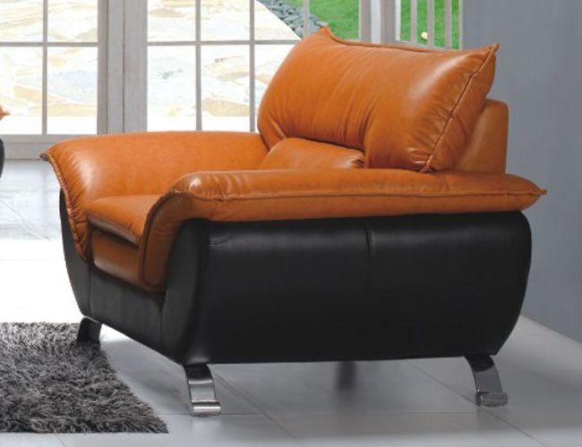 Comfortable and Contemporary Half Leather Living Room Arm Chair 3411