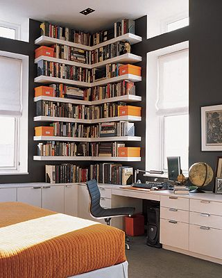 Ideas for small spaces: Custom bookshelves + dark walls: 'Iron