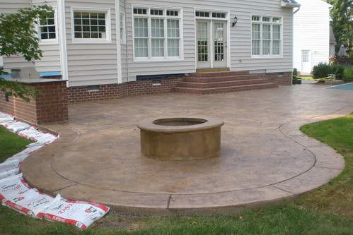 concrete patios pictures | Stamped Concrete Patio, Firepit, and