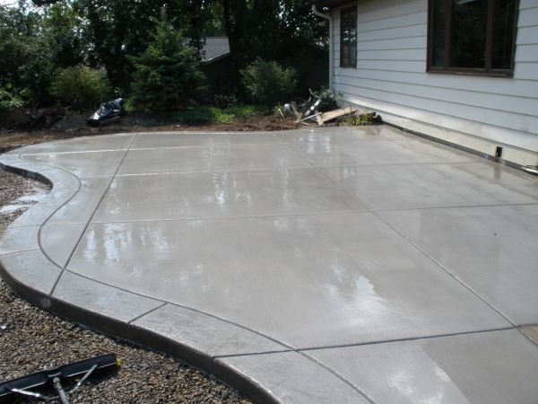 Concrete patio with stamped border | Deck/Patio | Pinterest