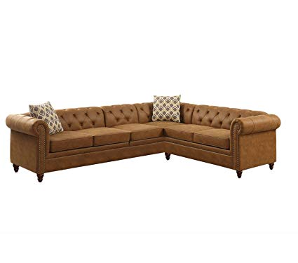 Amazon.com: Benzara BM168690 Breathable Leatherette Sectional Sofa