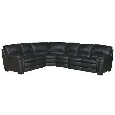 Contemporary 4 Piece Brown Leather Sectional Sofa - Tanner | RC
