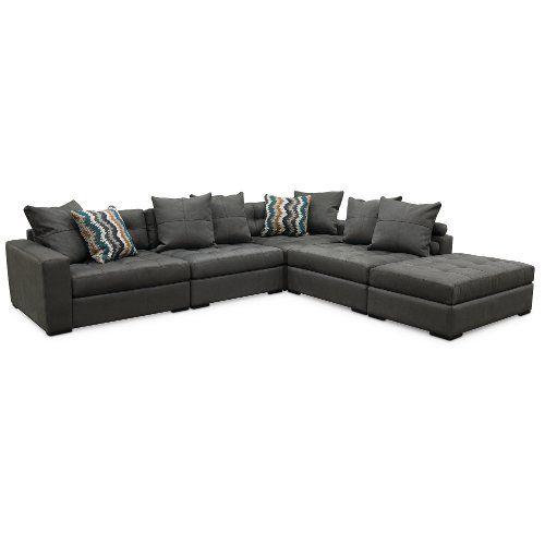Contemporary Granite Gray 4 Piece Sectional Sofa - Noah | Living