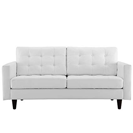Amazon.com: Modern Contemporary Loveseat, White Leather: Kitchen
