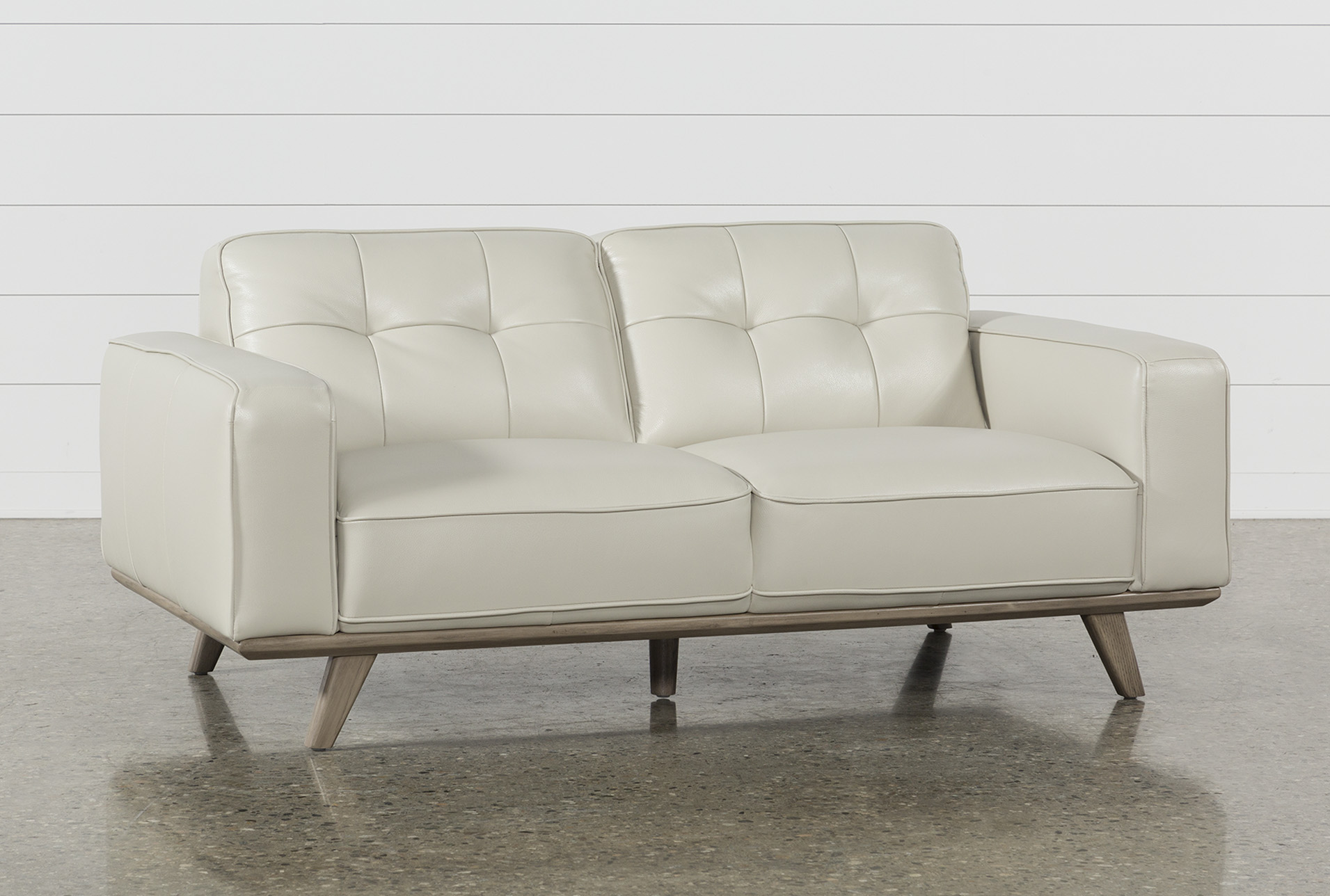 Caressa Leather Dove Grey Loveseat | Living Spaces
