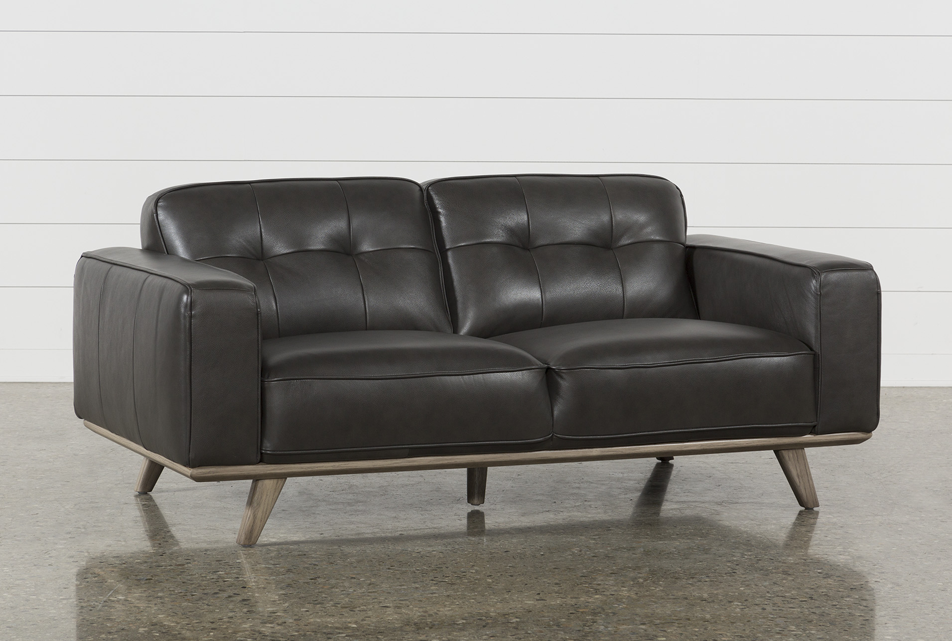 Caressa Leather Dark Grey Loveseat | Living Spaces