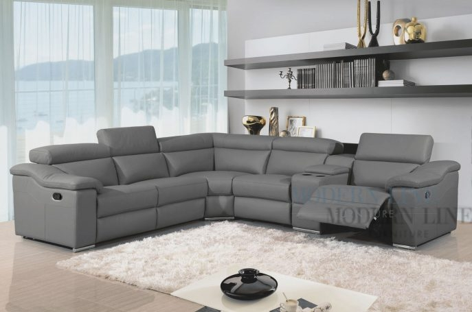 Neoteric Contemporary Grey Sectional Sofa Modern Italian Leather