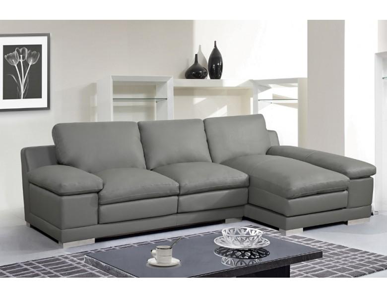 Tamara Grey Leather Sectional Sofa