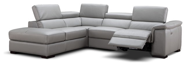 Perla Italian Leather Sectional Sofa With Power Recliner