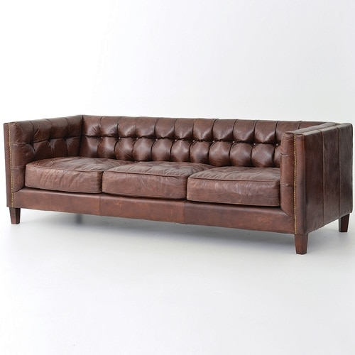 Abbott Vintage Cigar Tufted Leather Sofa | Zin Home